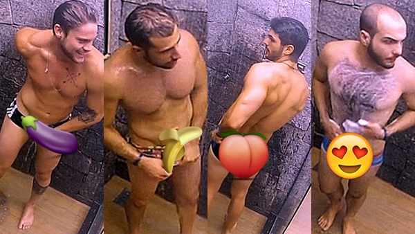#BBB18 - Mahmoud, Diego, Kaysar, Lucas e Breno pagando pintinho no banho